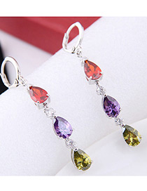 Elegant Zircon Color Matching Decorated Long Earrings
