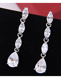 Elegant Zircon Oval Shape Diamond Decorated Earrings
