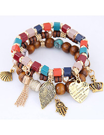 Bohemia Alloy Heart & Palm Shape Pendant Decorated Multilayer Bracelet