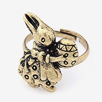 Lovely Gold Color Metal Rabbit Decorated Ring