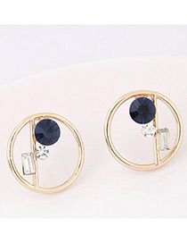 Fashion Dark Blue Geometric Shape Diamond Decorated Earrings