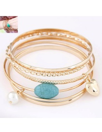 Fashion Gold Color Heart Shape&pearl Decorated Multi-layer Bracelet