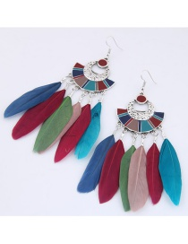 Trendy Multi-color Feather Decorated Color Matching Earrings