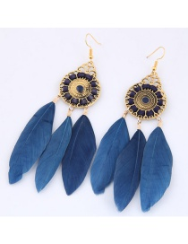 Trendy Dark Blue Feather Decorated Pure Color Earrings