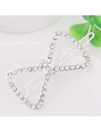 Fashion White Full Diamond Decorated Bowknot Shape Hairpin