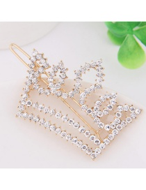 Fashion Gold Color Full Diamond Decorated Crown Shape Hairpin