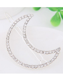 Fashion Silver Color Full Diamond Decorated Moon Shape Hairpin