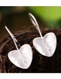 Sweet Silver Color Heart Shape Decorated Pure Color Simple Earrings
