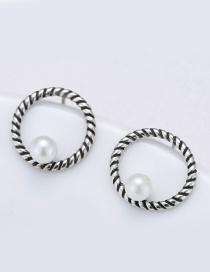 Sweet Antique Silver Circular Ring Decorated Simple Earrings