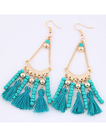 Trendy Blue Tassel&beads Decorated Pure Color Earrings