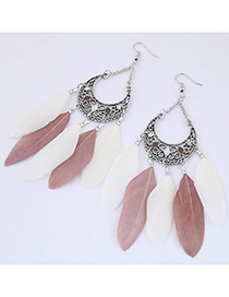 Trendy Pink+white Feather Pendant Decorated Simple Earrings
