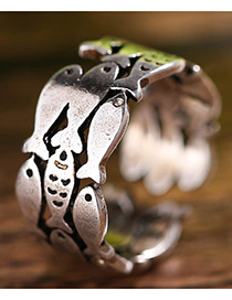 Fashion Antique Silver Fish Decorated Pure Color Opening Ring