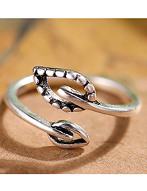 Fashion Antique Silver Leave Shape Decorated Pure Color Opening Ring