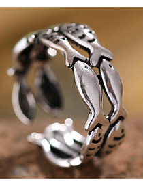Fashion Antique Silver Fish Shape Decorated Pure Color Opening Ring