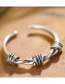 Fashion Antique Silver Twist Shape Decorated Pure Color Opening Ring