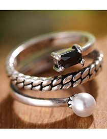 Fashion Antique Silver Diamond&pearl Decorated Multi-layer Simple Ring