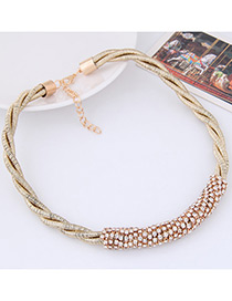 Fashion Gold Color Diamond Decorated Weave Pure Color Necklace