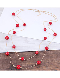 Elegant Red+white Pearl Decorated Multi-layer Pure Color Necklace