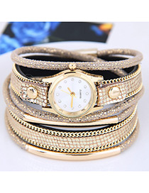 Fahsion Gold Color Diamond Decorated Round Dial Multi-layer Watch