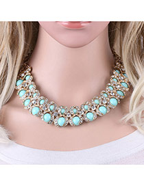 Fashion Green Rond Shape Gemstone Decorated Simple Double Layer Necklace