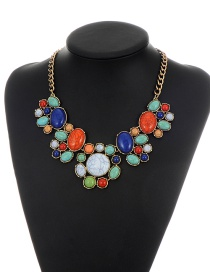 Vintage Green+blue Round Shape Decorated Simple Short Chain Necklace