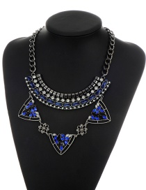 Fashion Blue Metal Triangle Pendant Decorated Simple Short Chain Necklace