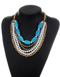 Fashion Blue Round Shape Decorated Simple Double Layer Necklace