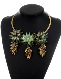 Fashion Green Tassel Decorated Simple Short Chain Necklace
