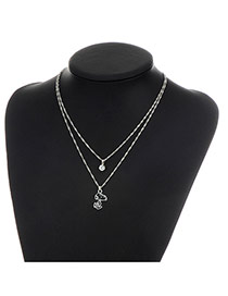 Fashion Silver Color Dog Pendent Decorated Double Layer Necklace