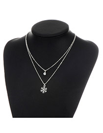 Fashion Silver Color Metal Snowflower Pendent Decorated Double Layer Necklace