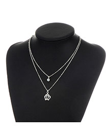 Fashion Silver Color Metal Royal Crown Pendent Decorated Double Layer Necklace