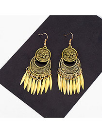 Fashion Gold Color Leaf Pendant Decorated Simple Earrings
