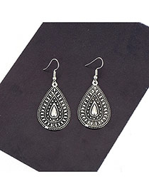 Vintage Silver Color Pure Color Decorated Simple Oval Shape Earrings