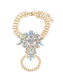 Fashion Multi-color Oval Shape Diamond Decorated Simple Anklet