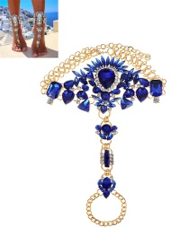 Fashion Blue Irregularity Shape Diamond Decorated Simple Anklet