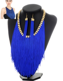 Exaggerate Blue Long Chain Pendant Decorated Simple Jewelry Sets