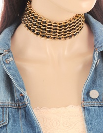 Vintage Black Round Shape Decorated Simple Hollow Out Choker