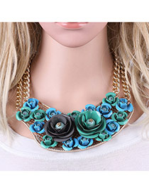 Fashion Green Folower Shape Pendant Decorated Simple Short Chain Necklace
