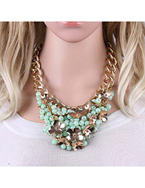 Fashion Green Metal Flower Decorated Simple Shotr Chain Necklace
