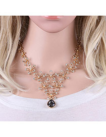 Fashion Gold Color Holow Out Folwer Decorated Simple Short Chain Necklace