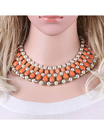 Fashion Orange Oval Shape Gemstone Decorated Simple Short Cahin Necklace