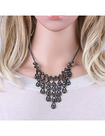 Fashion Sun Black Holloe Out Oval Shape Decorated Simple Short Chain Neckalce