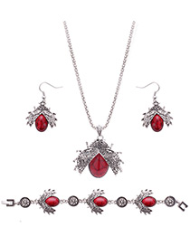 Lovely Red Beatles Shape Pendant Decorated Simple Jewelry Sets