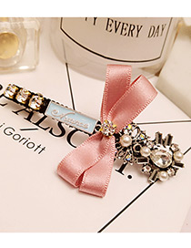 Elegant Pink Bowknot Shape &letter Shape Diamond Decorated Simple Hairpin
