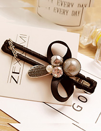 Fashion Black Round Shape &letter Decorated Simple Hairpin