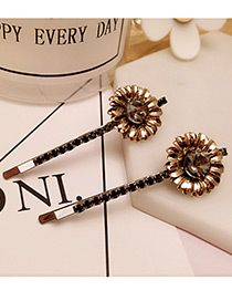 Vintage Gray Flower Decorated Color Matching Simple Hair Pin (2pcs)