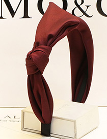 Sweet Claret Red Pure Color Decorated Bowknot Design Hair Clasp