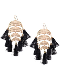 Bohemia Black Tassel Pendant Decorated Simple Short Chain Earrings