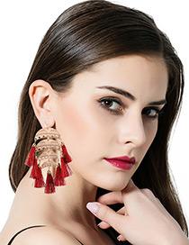 Bohemia Red Tassel Pendant Decorated Simple Short Chain Earrings