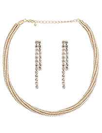 Elegant White Square Shape Diamond Decorated Simple Jewelry Sets